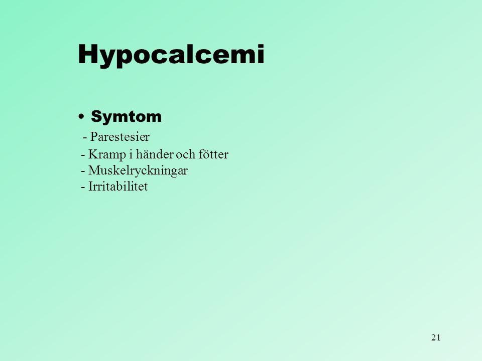 21 Hypocalcemi Symtom - Parestesier - Kramp i händer och fötter - Muskelryckningar - Irritabilitet