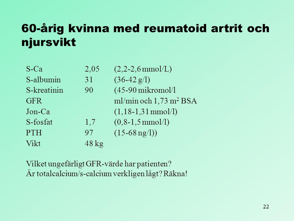 22 60-årig kvinna med reumatoid artrit och njursvikt S-Ca 2,05(2,2-2,6 mmol/L) S-albumin 31(36-42 g/l) S-kreatinin 90(45-90 mikromol/l GFRml/min och 1