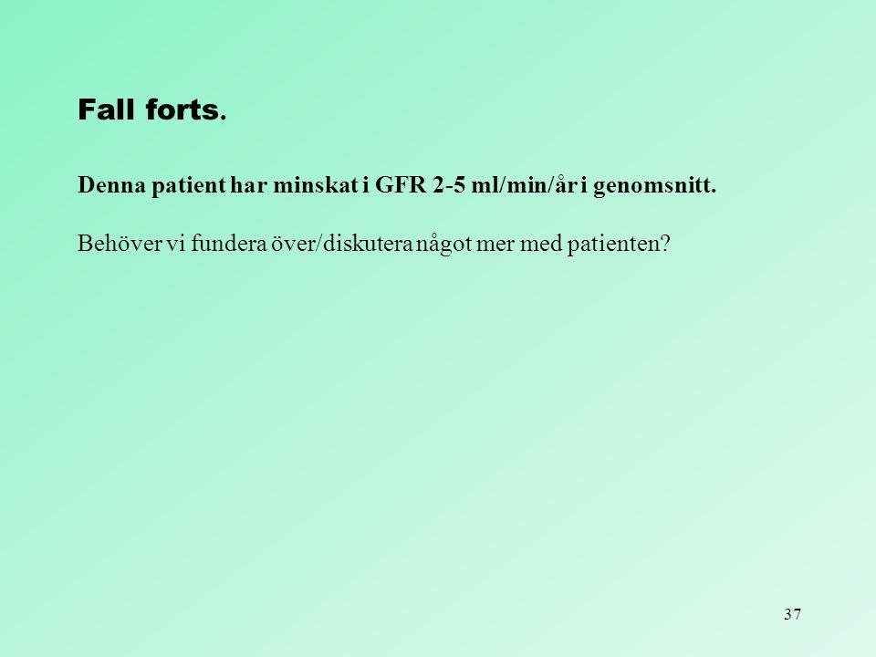 37 Fall forts. Denna patient har minskat i GFR 2-5 ml/min/år i genomsnitt. Behöver vi fundera över/diskutera något mer med patienten?
