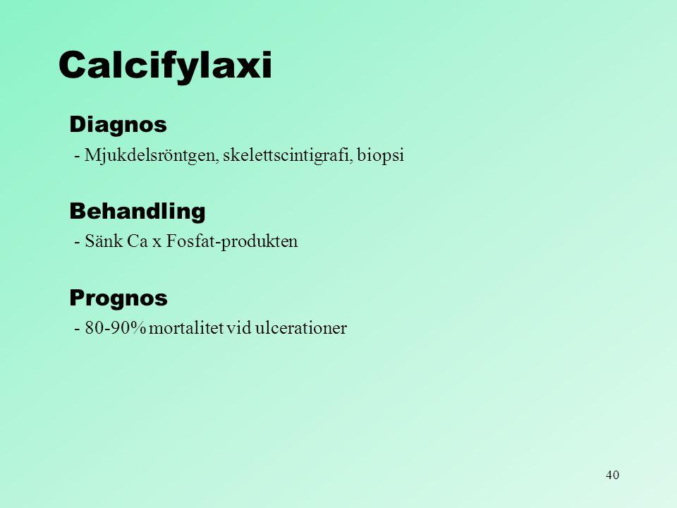 40 Calcifylaxi Diagnos - Mjukdelsröntgen, skelettscintigrafi, biopsi Behandling - Sänk Ca x Fosfat-produkten Prognos - 80-90% mortalitet vid ulceratio