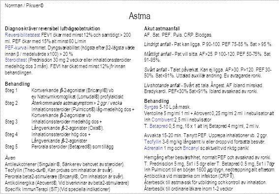 Norrman / Pikwer © Astma Diagnos kräver reversibel luftvägsobstruktion Reversibilitetstest FEV1 ökar med minst 12% och samtidigt > 200 ml. PEF ökar me