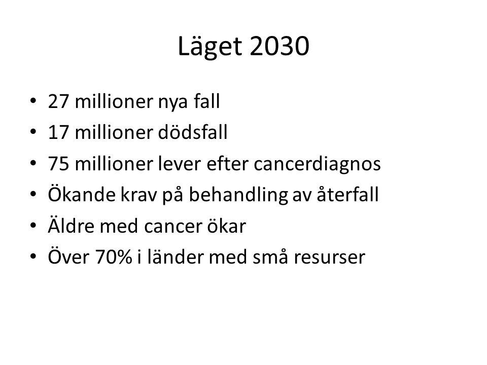 Läget 2030 27 millioner nya fall 17 millioner dödsfall 75 millioner lever efter cancerdiagnos Ökande krav på behandling av återfall Äldre med cancer ökar Över 70% i länder med små resurser