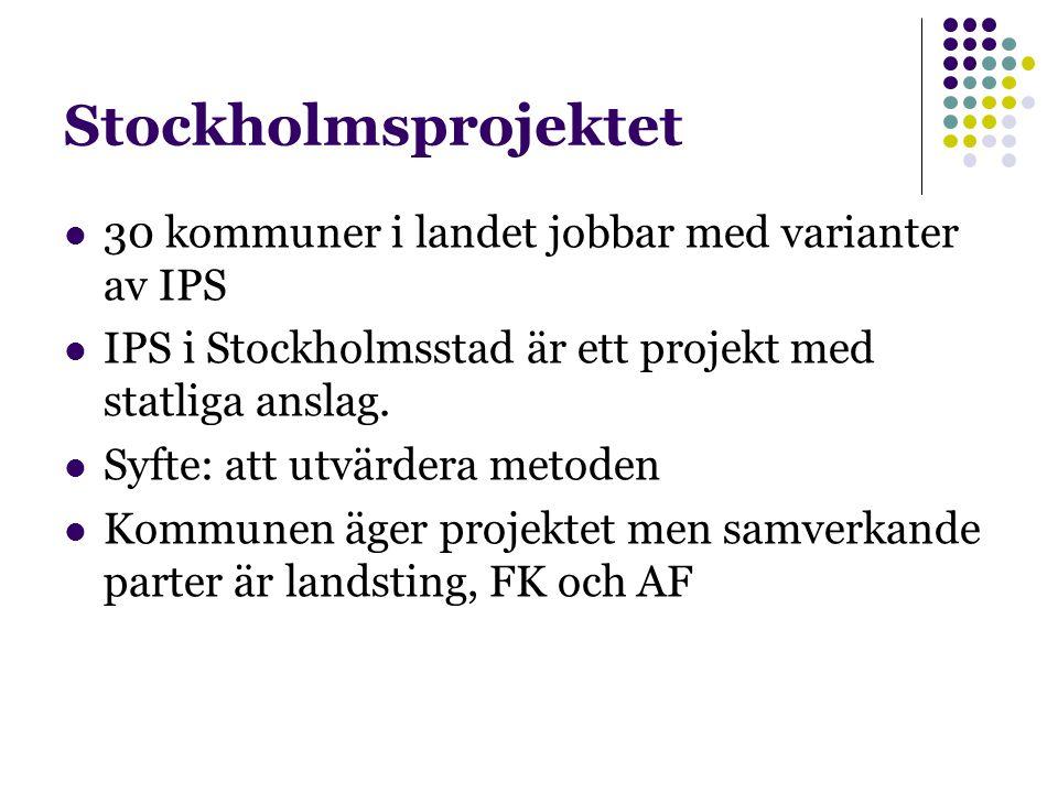 Stockholmsprojektet 30 kommuner i landet jobbar med varianter av IPS IPS i Stockholmsstad är ett projekt med statliga anslag. Syfte: att utvärdera met