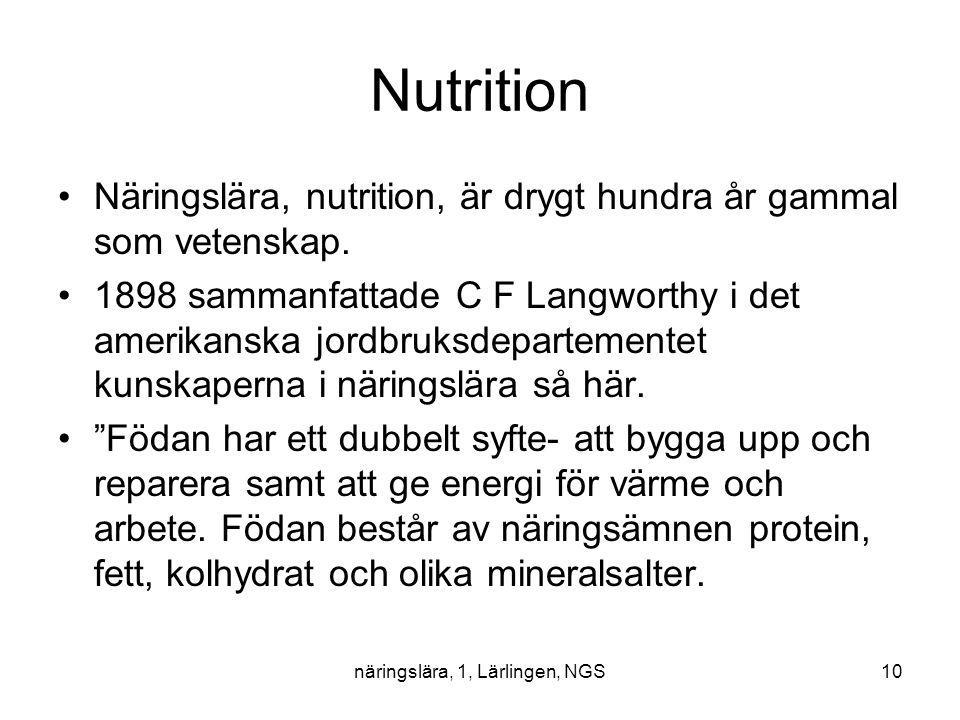 näringslära, 1, Lärlingen, NGS10 Nutrition Näringslära, nutrition, är drygt hundra år gammal som vetenskap. 1898 sammanfattade C F Langworthy i det am