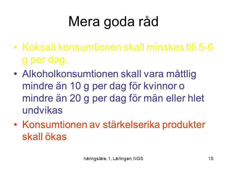 näringslära, 1, Lärlingen, NGS15 Mera goda råd Koksalt konsumtionen skall minskas till 5-6 g per dag. Alkoholkonsumtionen skall vara måttlig mindre än