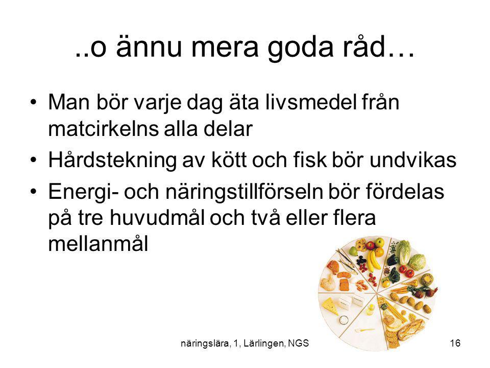 näringslära, 1, Lärlingen, NGS16..o ännu mera goda råd… Man bör varje dag äta livsmedel från matcirkelns alla delar Hårdstekning av kött och fisk bör