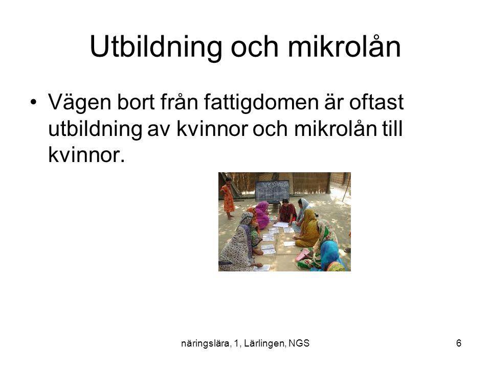 näringslära, 1, Lärlingen, NGS6 Utbildning och mikrolån Vägen bort från fattigdomen är oftast utbildning av kvinnor och mikrolån till kvinnor.