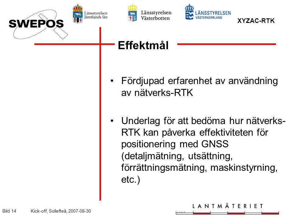 XYZAC-RTK Bild 14Kick-off, Sollefteå, 2007-08-30 Fördjupad erfarenhet av användning av nätverks-RTK Underlag för att bedöma hur nätverks- RTK kan påverka effektiviteten för positionering med GNSS (detaljmätning, utsättning, förrättningsmätning, maskinstyrning, etc.) Effektmål