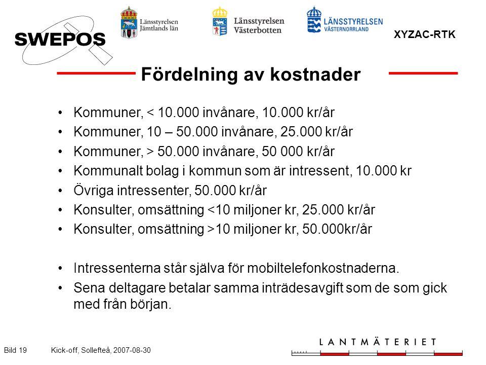 XYZAC-RTK Bild 19Kick-off, Sollefteå, 2007-08-30 Kommuner, < 10.000 invånare, 10.000 kr/år Kommuner, 10 – 50.000 invånare, 25.000 kr/år Kommuner, > 50.000 invånare, 50 000 kr/år Kommunalt bolag i kommun som är intressent, 10.000 kr Övriga intressenter, 50.000 kr/år Konsulter, omsättning <10 miljoner kr, 25.000 kr/år Konsulter, omsättning >10 miljoner kr, 50.000kr/år Intressenterna står själva för mobiltelefonkostnaderna.
