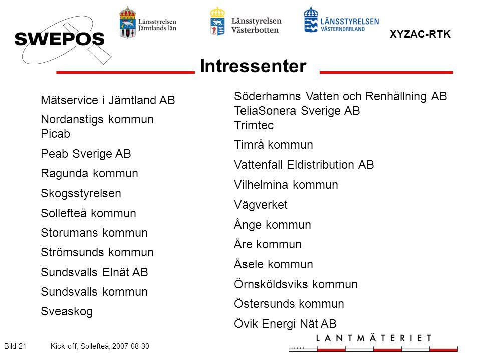 XYZAC-RTK Bild 21Kick-off, Sollefteå, 2007-08-30 Mätservice i Jämtland AB Nordanstigs kommun Picab Peab Sverige AB Ragunda kommun Skogsstyrelsen Solle