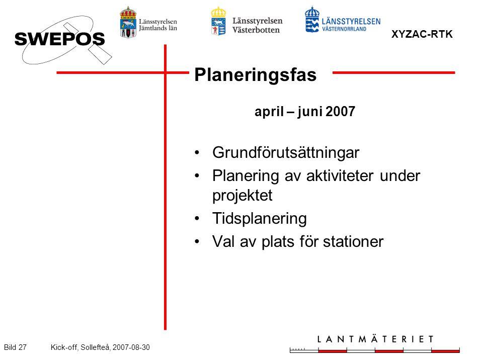 XYZAC-RTK Bild 27Kick-off, Sollefteå, 2007-08-30 Planeringsfas april – juni 2007 Grundförutsättningar Planering av aktiviteter under projektet Tidsplanering Val av plats för stationer