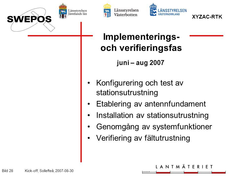 XYZAC-RTK Bild 28Kick-off, Sollefteå, 2007-08-30 Implementerings- och verifieringsfas juni – aug 2007 Konfigurering och test av stationsutrustning Etablering av antennfundament Installation av stationsutrustning Genomgång av systemfunktioner Verifiering av fältutrustning