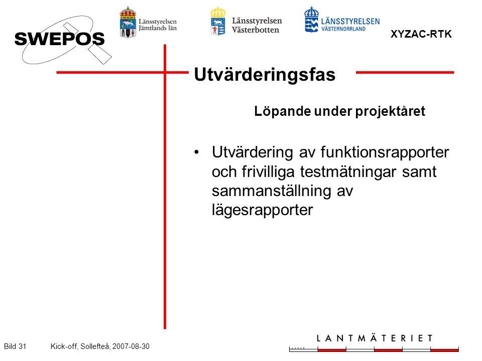 XYZAC-RTK Bild 31Kick-off, Sollefteå, 2007-08-30 Utvärderingsfas Löpande under projektåret Utvärdering av funktionsrapporter och frivilliga testmätningar samt sammanställning av lägesrapporter