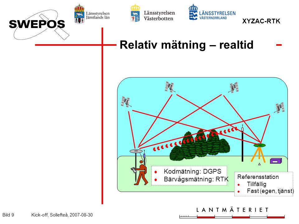 XYZAC-RTK Bild 9Kick-off, Sollefteå, 2007-08-30 Relativ mätning – realtid Referensstation Tillfällig Fast (egen, tjänst) Kodmätning: DGPS Bärvågsmätning: RTK
