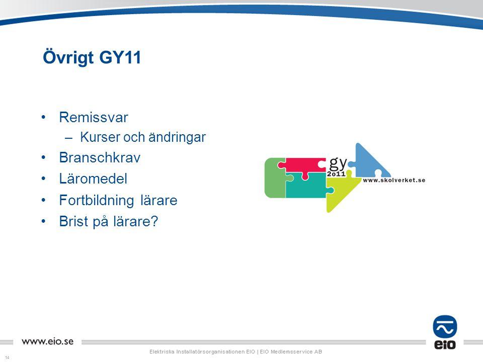 14 Övrigt GY11 Remissvar –Kurser och ändringar Branschkrav Läromedel Fortbildning lärare Brist på lärare?