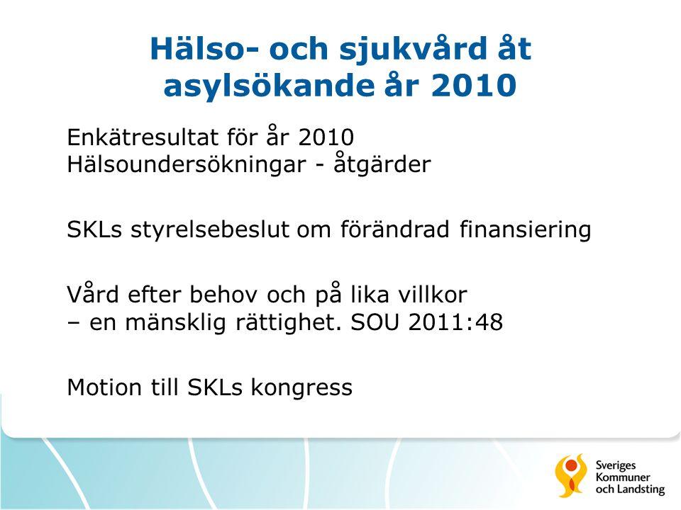 Hälso- och sjukvård åt asylsökande år 2010 Enkätresultat för år 2010 Hälsoundersökningar - åtgärder SKLs styrelsebeslut om förändrad finansiering Vård efter behov och på lika villkor – en mänsklig rättighet.