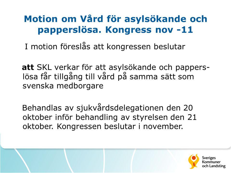 Motion om Vård för asylsökande och papperslösa.