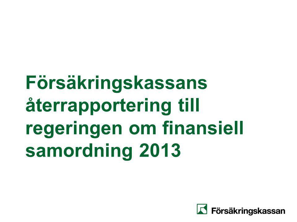 Försäkringskassans regleringsbrev för 2013 Uppföljning av finansiell samordning Försäkringskassan ska redovisa hur medel avsatta för finansiell samordning enligt lagen (2003:1210) om finansiell samordning av rehabiliteringsinsatser samt Finansiell samordning mellan Försäkringskassan och hälso- och sjukvården har använts.