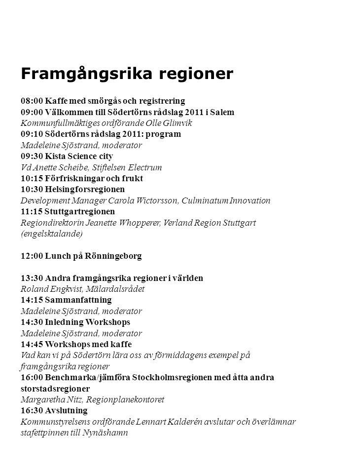 Framgångsrika regioner Södertörns rådslag äger rum torsdagen den 24 mars 2011 i Salem.