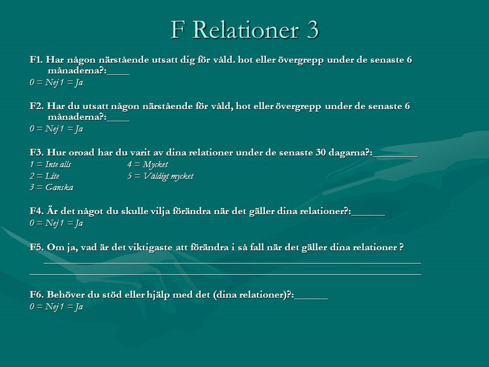 F Relationer 3 F1. Har någon närstående utsatt dig för våld. hot eller övergrepp under de senaste 6 månaderna?:____ 0 = Nej 1 = Ja F2. Har du utsatt n