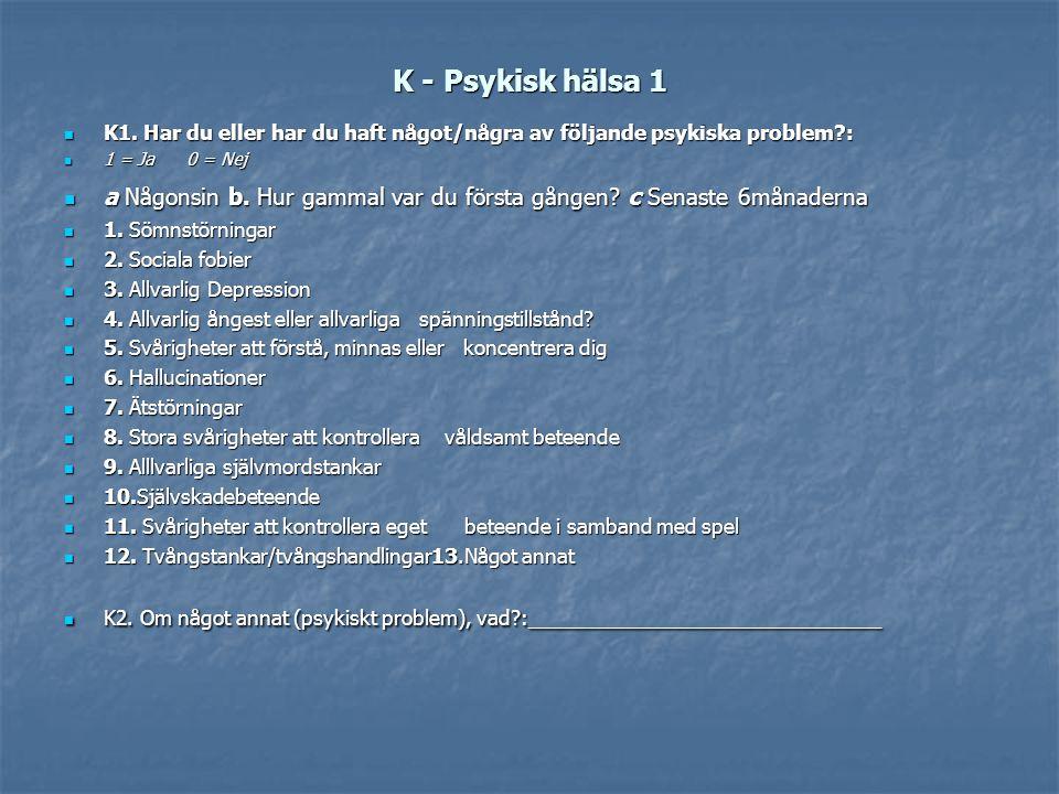 K - Psykisk hälsa 1 K1. Har du eller har du haft något/några av följande psykiska problem?: K1. Har du eller har du haft något/några av följande psyki
