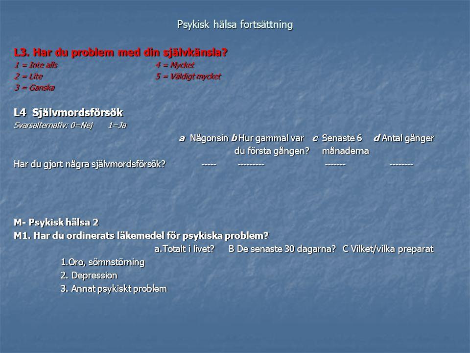 Psykisk hälsa fortsättning L3. Har du problem med din självkänsla? 1 = Inte alls 4 = Mycket 2 = Lite 5 = Väldigt mycket 3 = Ganska L4 Självmordsförsök