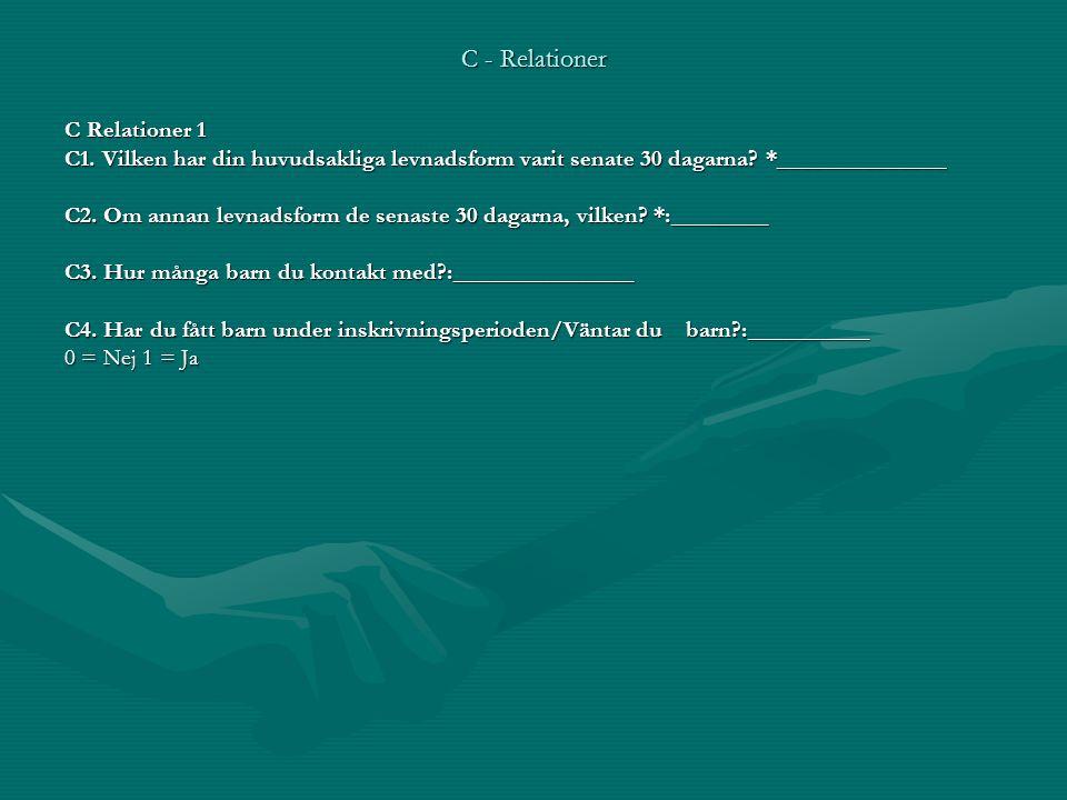 C - Relationer C Relationer 1 C1. Vilken har din huvudsakliga levnadsform varit senate 30 dagarna? *______________ C2. Om annan levnadsform de senaste