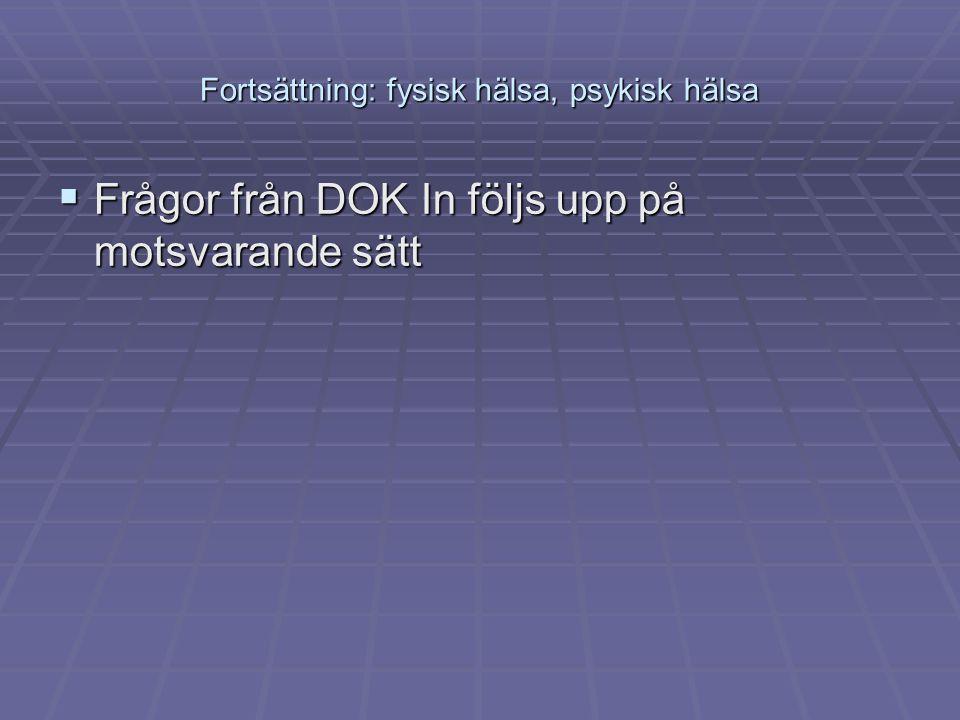 Fortsättning: fysisk hälsa, psykisk hälsa  Frågor från DOK In följs upp på motsvarande sätt