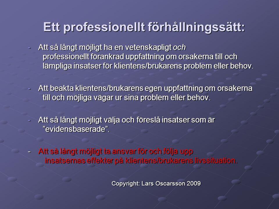 Exempel: Evidensbaserat klientarbete i praktiken Utgångspunkt EBM/P & Professionellt förhållningssätt Copyright: Lars Oscarsson 2009 Exempel: Evidensbaserat klientarbete i praktiken Utgångspunkt EBM/P & Professionellt förhållningssätt Copyright: Lars Oscarsson 2009 Jämför med Vad är problemet.