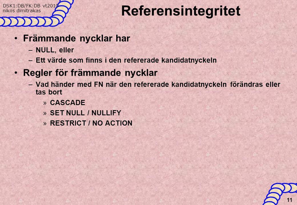 DSK1:DB/FK:DB vt2010 nikos dimitrakas Referensintegritet Främmande nycklar har –NULL, eller –Ett värde som finns i den refererade kandidatnyckeln Regler för främmande nycklar –Vad händer med FN när den refererade kandidatnyckeln förändras eller tas bort »CASCADE »SET NULL / NULLIFY »RESTRICT / NO ACTION 11