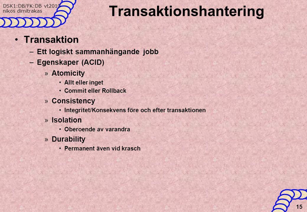 DSK1:DB/FK:DB vt2010 nikos dimitrakas Transaktionshantering Transaktion –Ett logiskt sammanhängande jobb –Egenskaper (ACID) »Atomicity Allt eller inget Commit eller Rollback »Consistency Integritet/Konsekvens före och efter transaktionen »Isolation Oberoende av varandra »Durability Permanent även vid krasch 15