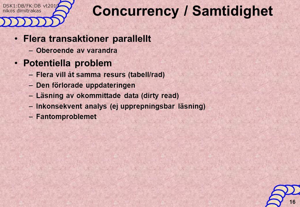 DSK1:DB/FK:DB vt2010 nikos dimitrakas Concurrency / Samtidighet Flera transaktioner parallellt –Oberoende av varandra Potentiella problem –Flera vill åt samma resurs (tabell/rad) –Den förlorade uppdateringen –Läsning av okommittade data (dirty read) –Inkonsekvent analys (ej upprepningsbar läsning) –Fantomproblemet 16