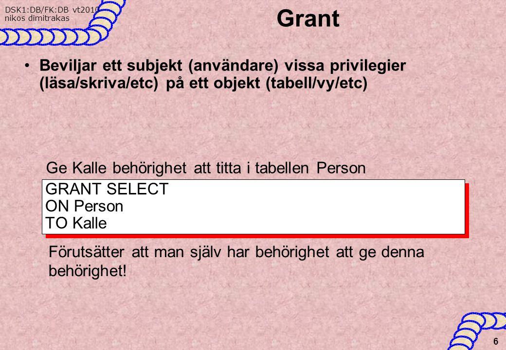 DSK1:DB/FK:DB vt2010 nikos dimitrakas Grant Beviljar ett subjekt (användare) vissa privilegier (läsa/skriva/etc) på ett objekt (tabell/vy/etc) 6 GRANT SELECT ON Person TO Kalle Ge Kalle behörighet att titta i tabellen Person Förutsätter att man själv har behörighet att ge denna behörighet!