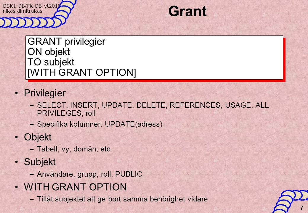 DSK1:DB/FK:DB vt2010 nikos dimitrakas Grant Privilegier –SELECT, INSERT, UPDATE, DELETE, REFERENCES, USAGE, ALL PRIVILEGES, roll –Specifika kolumner: UPDATE(adress) Objekt –Tabell, vy, domän, etc Subjekt –Användare, grupp, roll, PUBLIC WITH GRANT OPTION –Tillåt subjektet att ge bort samma behörighet vidare 7 GRANT privilegier ON objekt TO subjekt [WITH GRANT OPTION]
