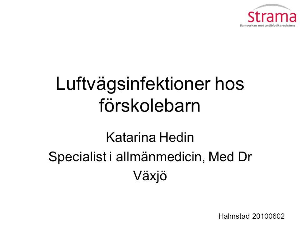 Luftvägsinfektioner hos förskolebarn Katarina Hedin Specialist i allmänmedicin, Med Dr Växjö Halmstad 20100602
