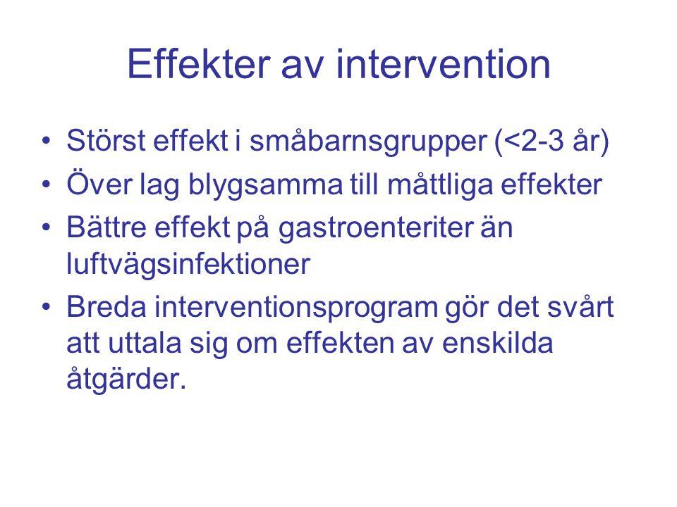 Störst effekt i småbarnsgrupper (<2-3 år) Över lag blygsamma till måttliga effekter Bättre effekt på gastroenteriter än luftvägsinfektioner Breda inte