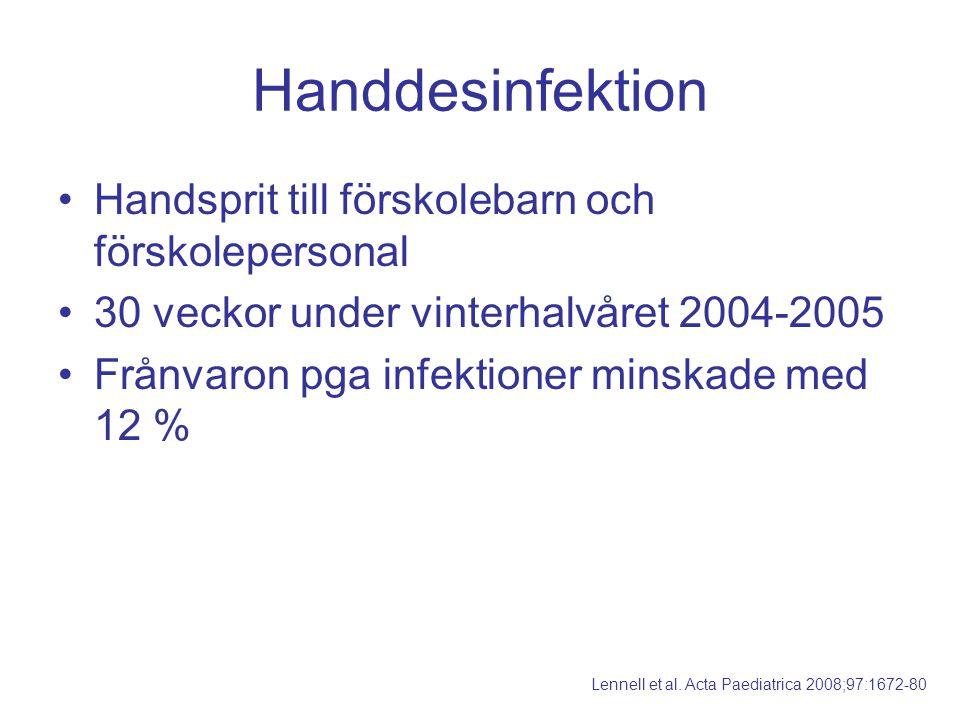 Handdesinfektion Handsprit till förskolebarn och förskolepersonal 30 veckor under vinterhalvåret 2004-2005 Frånvaron pga infektioner minskade med 12 %