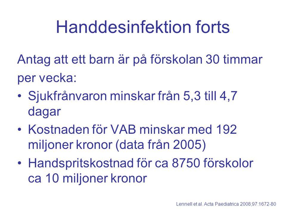 Handdesinfektion forts Antag att ett barn är på förskolan 30 timmar per vecka: Sjukfrånvaron minskar från 5,3 till 4,7 dagar Kostnaden för VAB minskar