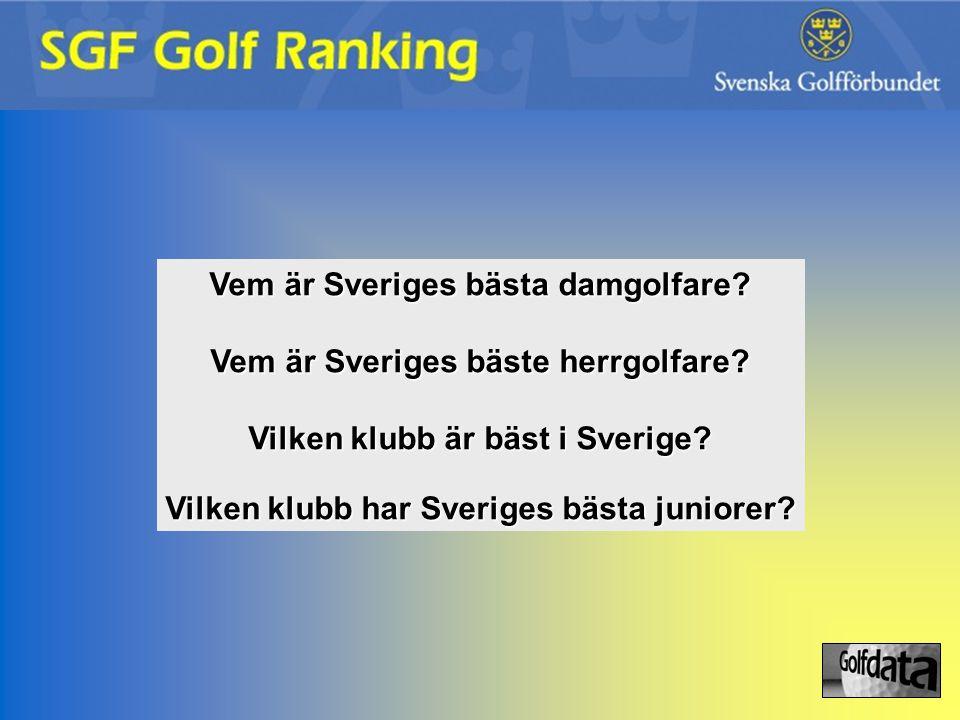 Vem är Sveriges bästa damgolfare? Vem är Sveriges bäste herrgolfare? Vilken klubb är bäst i Sverige? Vilken klubb har Sveriges bästa juniorer?