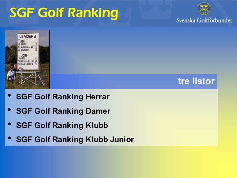 SGF Golf Ranking Herrar SGF Golf Ranking Damer SGF Golf Ranking Klubb SGF Golf Ranking Klubb Junior tre listor