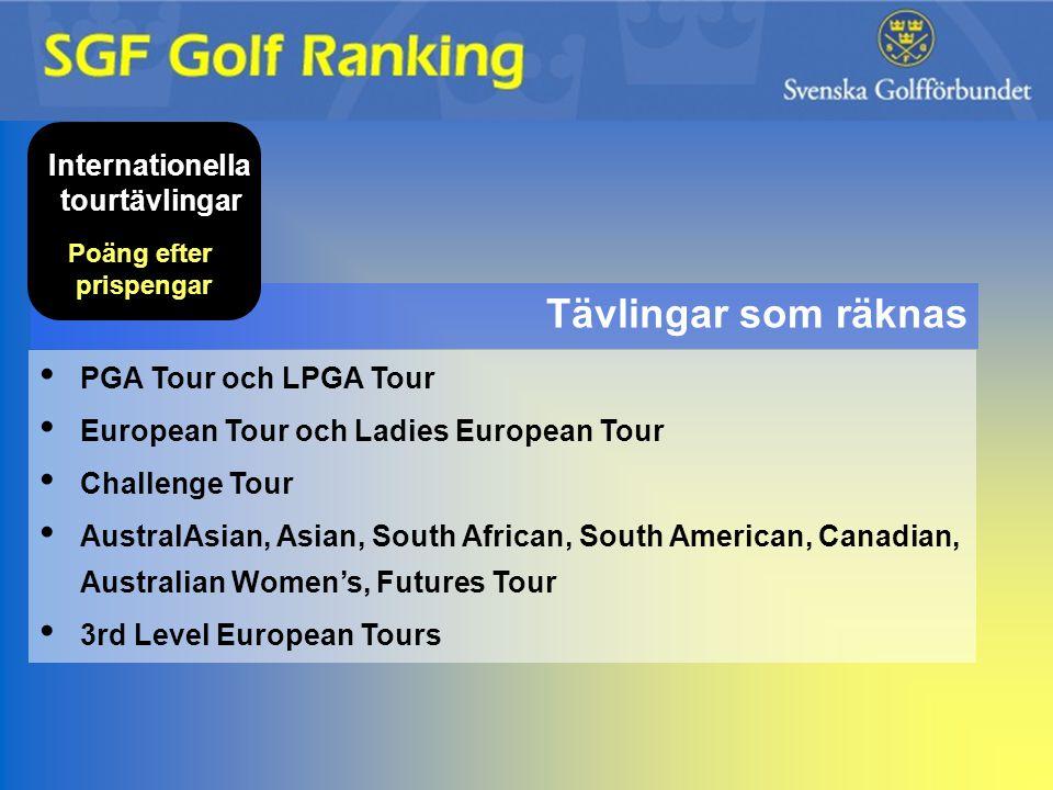 Tävlingar som räknas Internationella tourtävlingar Poäng efter prispengar PGA Tour och LPGA Tour European Tour och Ladies European Tour Challenge Tour