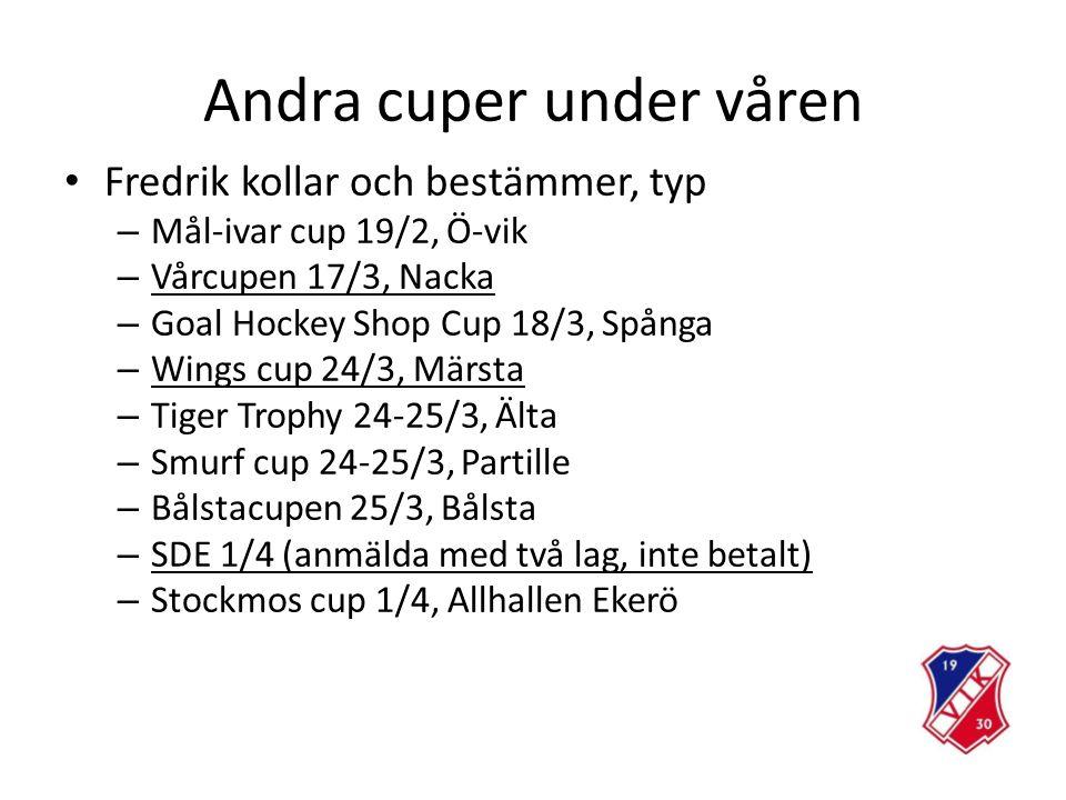Andra cuper under våren Fredrik kollar och bestämmer, typ – Mål-ivar cup 19/2, Ö-vik – Vårcupen 17/3, Nacka – Goal Hockey Shop Cup 18/3, Spånga – Wings cup 24/3, Märsta – Tiger Trophy 24-25/3, Älta – Smurf cup 24-25/3, Partille – Bålstacupen 25/3, Bålsta – SDE 1/4 (anmälda med två lag, inte betalt) – Stockmos cup 1/4, Allhallen Ekerö