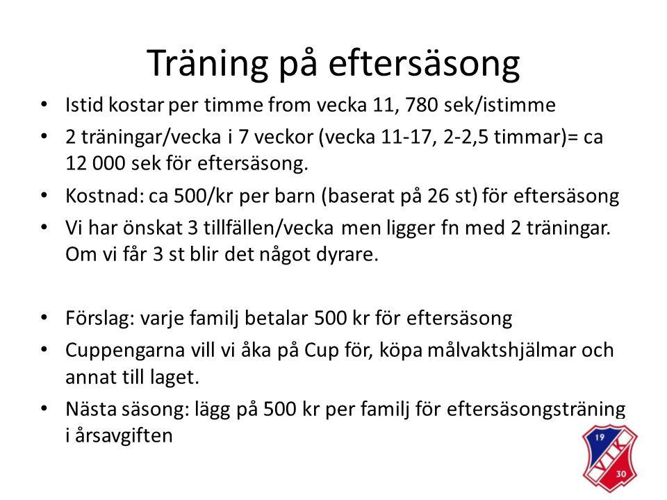Träning på eftersäsong Istid kostar per timme from vecka 11, 780 sek/istimme 2 träningar/vecka i 7 veckor (vecka 11-17, 2-2,5 timmar)= ca 12 000 sek för eftersäsong.