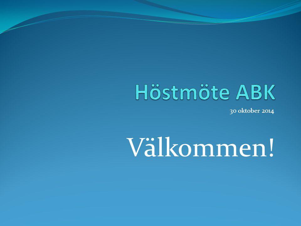 30 oktober 2014 Välkommen!
