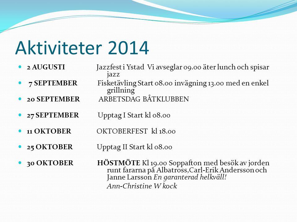 Aktiviteter 2014 2 AUGUSTI Jazzfest i Ystad Vi avseglar 09.00 äter lunch och spisar jazz 7 SEPTEMBER Fisketävling Start 08.00 invägning 13.00 med en enkel grillning 20 SEPTEMBER ARBETSDAG BÅTKLUBBEN 27 SEPTEMBER Upptag I Start kl 08.00 11 OKTOBER OKTOBERFEST kl 18.00 25 OKTOBER Upptag II Start kl 08.00 30 OKTOBER HÖSTMÖTE Kl 19.00 Soppafton med besök av jorden runt fararna på Albatross,Carl-Erik Andersson och Janne Larsson En garanterad helkväll.