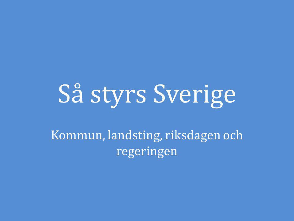 Så styrs Sverige Kommun, landsting, riksdagen och regeringen