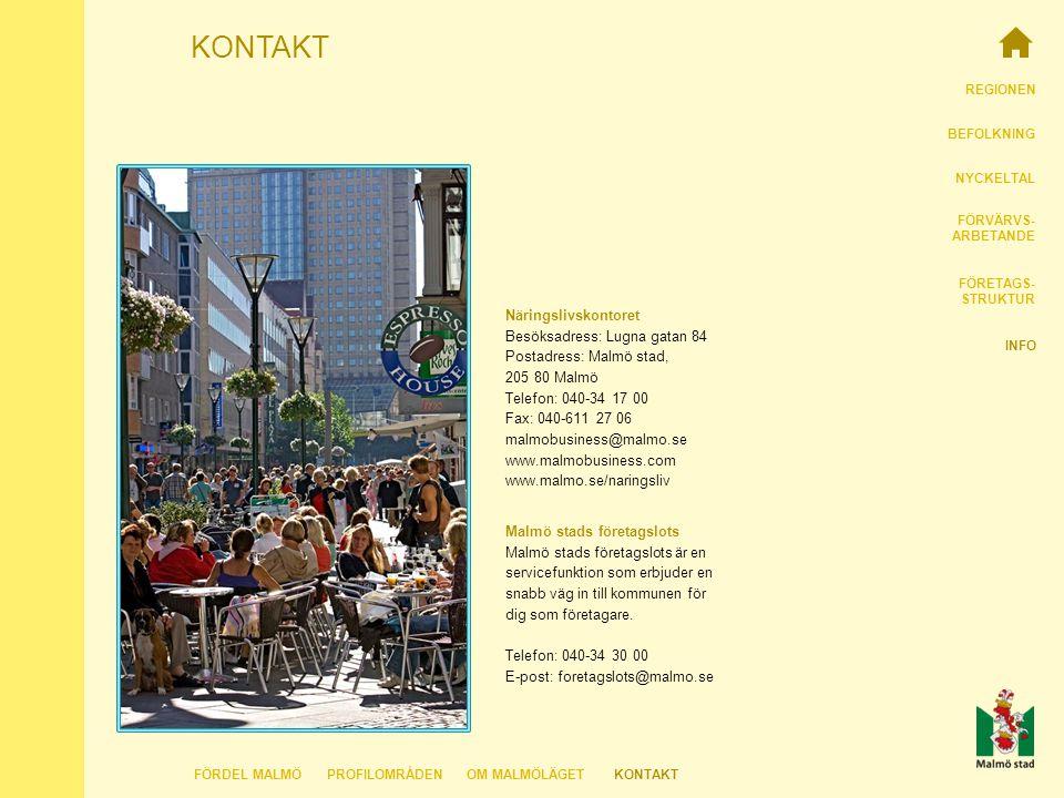 REGIONEN BEFOLKNING NYCKELTAL FÖRVÄRVS- ARBETANDE FÖRETAGS- STRUKTUR INFO KONTAKT Näringslivskontoret Besöksadress: Lugna gatan 84 Postadress: Malmö stad, 205 80 Malmö Telefon: 040-34 17 00 Fax: 040-611 27 06 malmobusiness@malmo.se www.malmobusiness.com www.malmo.se/naringsliv FÖRDEL MALMÖKONTAKTOM MALMÖLÄGETPROFILOMRÅDEN Malmö stads företagslots Malmö stads företagslots är en servicefunktion som erbjuder en snabb väg in till kommunen för dig som företagare.