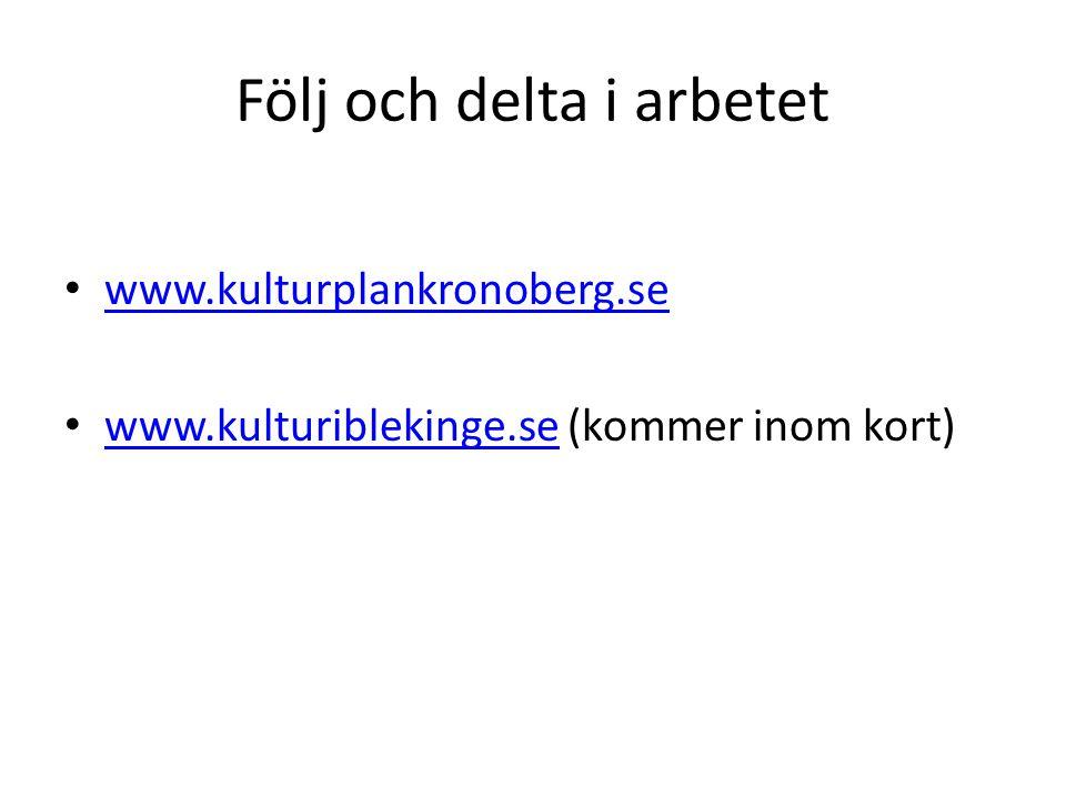 Följ och delta i arbetet www.kulturplankronoberg.se www.kulturiblekinge.se (kommer inom kort) www.kulturiblekinge.se