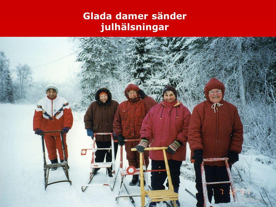Vinterbild Glada damer sänder julhälsningar