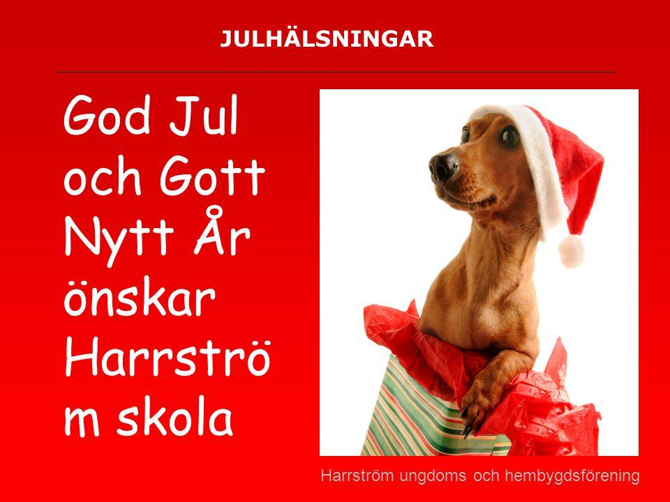 JULHÄLSNINGAR God Jul och Gott Nytt År önskar Harrströ m skola Harrström ungdoms och hembygdsförening